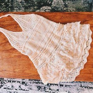 Crochet boho halter top hippie dress